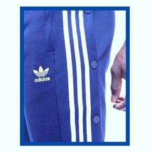 MEN'S BLUE ADIDAS TEAR OFF TRACK PANTS
